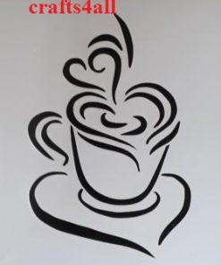 Coffee Cups & Hearts  ( Sfan 17 )  Size:- 197 x 132 mm