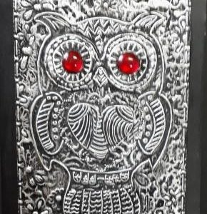 """ METAL EMBOSSING - OWL  "" on a Canvas 290 x 210 mm"