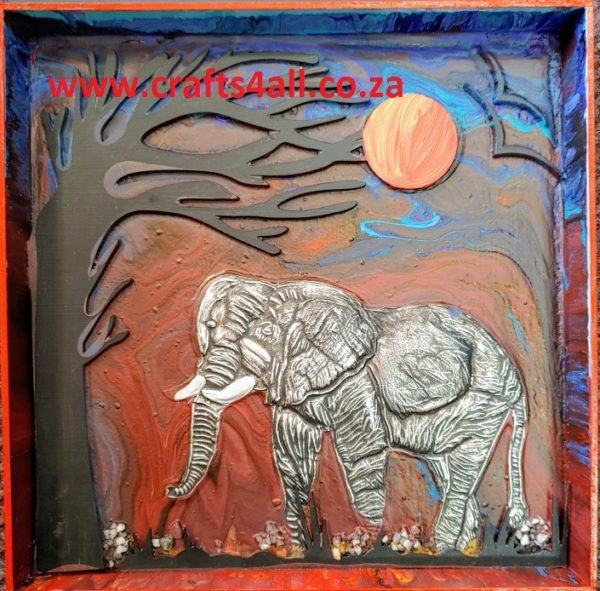 """ ACRYLIC PAINT POUR - "" Elephant at Dusk ""  In Wooden Canvas"