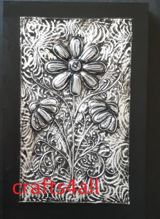""" METAL EMBOSSING - FLOWER  "" on a Canvas 290 x 210 mm"