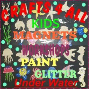 """ Kids ""Underwater - Paint & Glitter & Attach Magnets - CHOOSE 6"