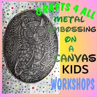 """"""" Kids """" - Owl Metal Embossing on a Wooden Canvas."""